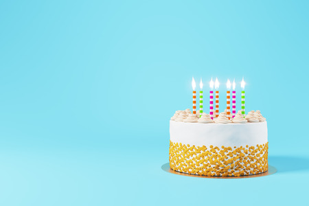 Pretty birthday cake with lit candles on light blue background with copy space. Dessert concept. 3D Rendering