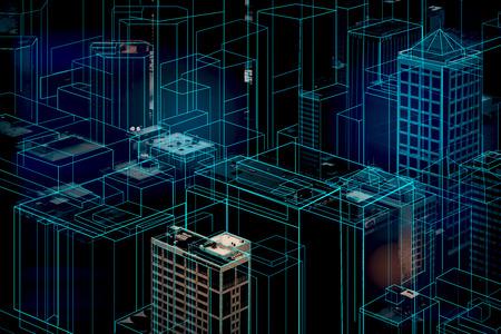 Abstract glowing digital city background. 3D Rendering Stock fotó