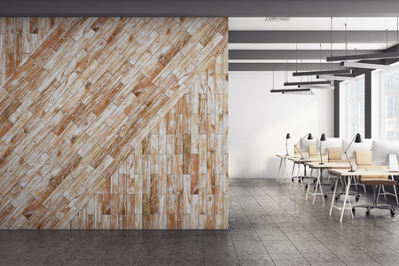 Front view of clear wooden wall in modern coworking office interior. Advertisement, presentation concept. Mock up, 3D Rendering