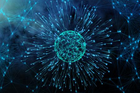 Fond abstrait de virus bleu. Médecine, concept scientifique Rendu 3D Banque d'images