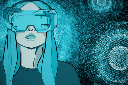 virtual reality simulator: Abstract blue drawing of young woman with futuristic glasses on abstract background. Virtual reality and headset concept. 3D Rendering