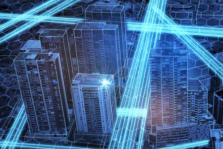 Abstract glowing digital city texture. 3D Rendering Imagens