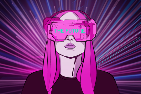 Abstract pink drawing of young woman with futuristic glasses on shiny background. Virtual reality and digital concept. 3D Rendering Stock Photo