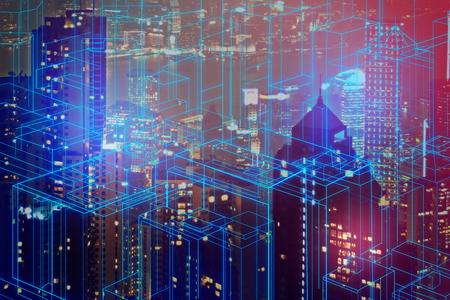 Abstract gloeiend digitaal stadsbehang. Dubbele blootstelling Stockfoto