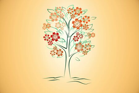 Creative digital tree drawing with abstract cogwheel flowers on orange background. Technology and infographic concept. 3D Rendering