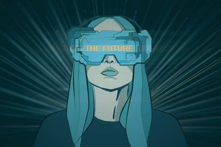 virtual reality simulator: Abstract blue drawing of young woman with futuristic glasses on shiny background. Virtual reality interface concept. 3D Rendering