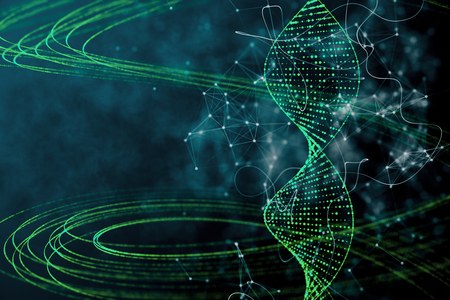 Digital green DNA backdrop. Innovation, medicine and technology concept. 3D Rendering