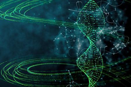 Digital green DNA backdrop. Innovation, medicine and technology concept. 3D Rendering
