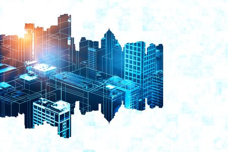 Abstract glowing digital city on white background. 3D Rendering