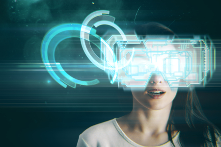 virtual reality simulator: Close up portrait of surprised young european woman with virtual reality glasses on space background. Cyberspace and simulator concept. Double exposure