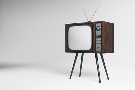 Old TV on white background. Mock up, 3D Rendering  Stock Photo