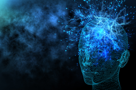Abstract glowing polygonal head background with neurons. Artificial intelligence and information concept. 3D Rendering