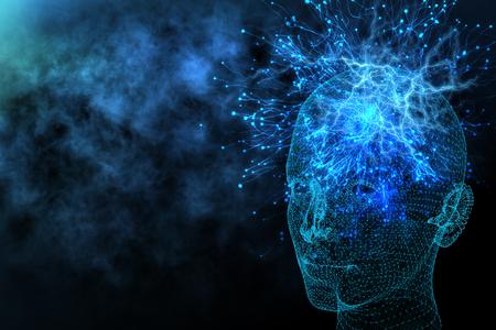 Fond abstrait tête polygonale rougeoyante avec des neurones. Intelligence artificielle et concept d'information. Rendu 3D Banque d'images - 89729344