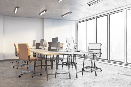 Unfinished coworking office interior with city view and daylight. Engineering and project concept. 3D Rendering Stock fotó