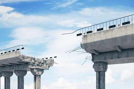 Concrete bridge with gap on sky background. Challenge and problem overcoming concept. 3D Rendering  Фото со стока