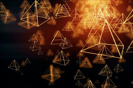 抽象的な明るい多角形のピラミッドの背景。3D レンダリング