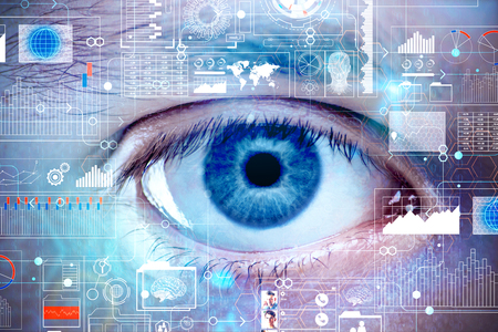 Close up of blue eye with abstract digital interface. Biometrics and access concept. Double exposure