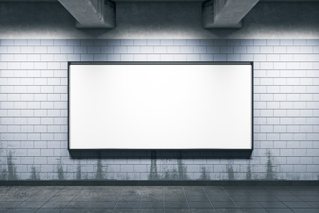 Grunge metro or subway station with blank billboard wall. Mock up, 3D Rendering