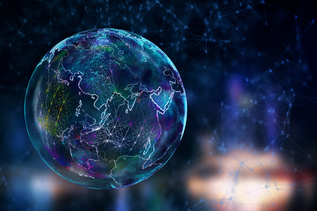 Abstract polygonal globe on blurry background. Global business concept. 3D Rendering
