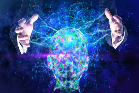 Male hands holding abstract glowing polygonal head background with neurons. Artificial intelligence and memory concept. 3D Rendering  Stock Photo