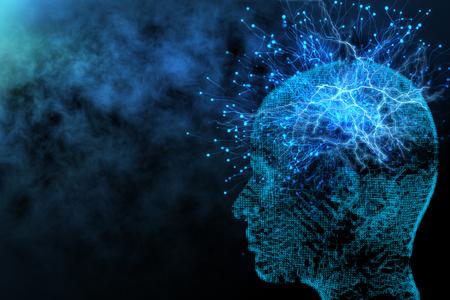Astratto sfondo testa poligonale incandescente con i neuroni. Intelligenza artificiale e concetto di rete. Rendering 3D