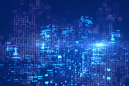 Abstract digital glowing blue city background. Urban innovation concept. Double exposure