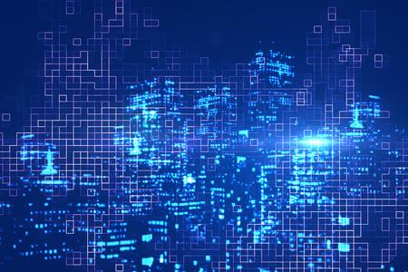 抽象的なデジタル光るブルーの街を背景。都市イノベーション概念。二重露光