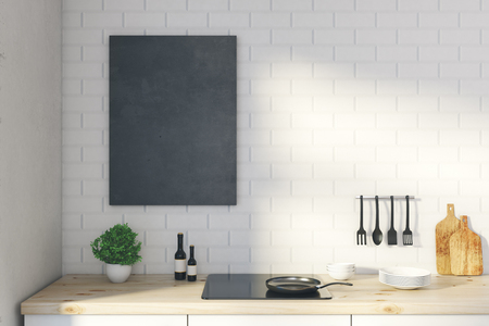 Close up of empty poster in modern whiite kitchen interior with dishware. Mock up, 3D Rendering  Banco de Imagens