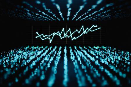 비즈니스 차트와 크리 에이 티브 빛나는 이진 코드 배경. 기술, 컴퓨팅 및 금융 개념입니다. 3D 렌더링