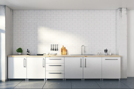 Nieuwe loft witte keuken studio inteior met meubels en decoratieve objecten. Wonen, wonen, design en lifestyle concept. 3D-weergave