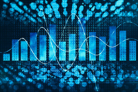 Creative glowing binary code background with business chart. Technology, computing and statictics concept. 3D Rendering Stock Photo
