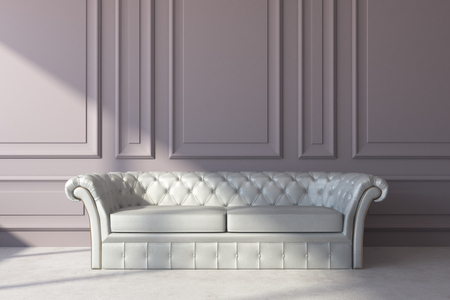Front view of white leather sofa in classic interior with copy space on wall. Living room and lifestyle concept. 3D Rendering  Stock Photo