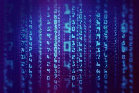Abstract blue binary code wallpaper. Computing, cyberspace , future and innovation concept. 3D Rendeing