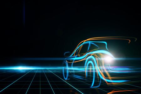 Creative glowing digital car on black background. Transportation and design concept. 3D Rendering