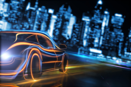 Creative glowing digital car on blurry night city background. Transport and design journey. 3D Rendering
