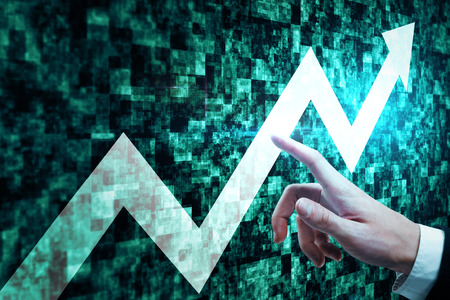 Hand pointing at glowing upward arrow on abstract green web tile background. Success and growth concept. 3D Rendering
