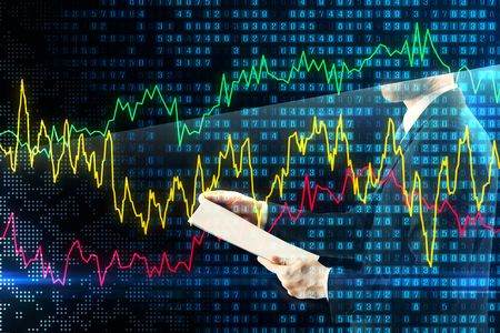 Unrecognizable businessman with document on abstract forex background. Investment and trade concept. Double exposure