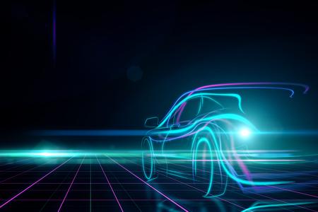 Kreatywnie rozjarzony cyfrowy samochód na czarnym tle. Koncepcja transportu i projektowania. Renderowanie 3D