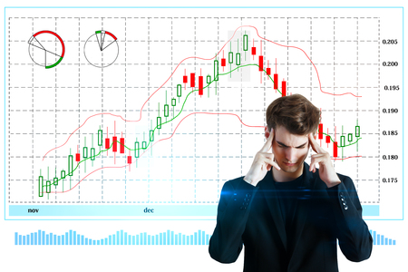 Pensive young businessman on white background with forex chart. Economy and interface concept. 3D Rendering