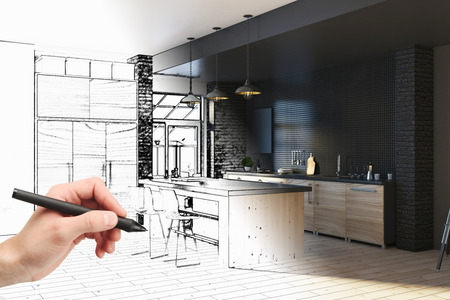Hand drawing unfinished project of modern kitchen interior. Engineering and architecture concept. 3D Rendering  Archivio Fotografico