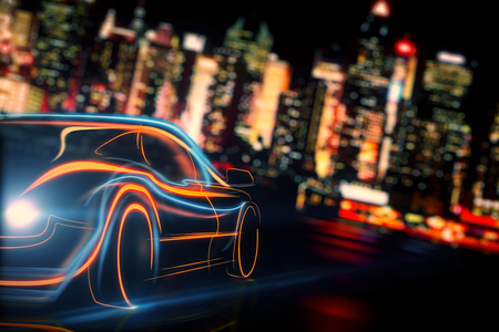 Creative glowing digital car on blurry night city background. Transport and vehicle concept. 3D Rendering