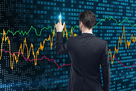 Back view of young businessman using abstract forex chart. Analysis and finance concept. 3D Rendering  Stock Photo
