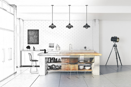 Unfinished project of modern kitchen interior. Engineering and architecture concept. 3D Rendering