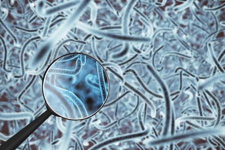 Bactérias azuis abstratas sob a lupa. Pesquisa microscópica, conceito de medicina. Renderização 3D