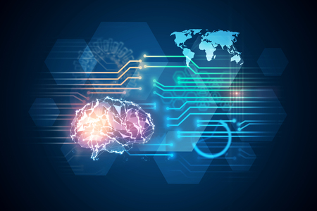 Abstract polygonal brain interface on blue background. Artificial intelligence concept. 3D Rendering  Banque d'images