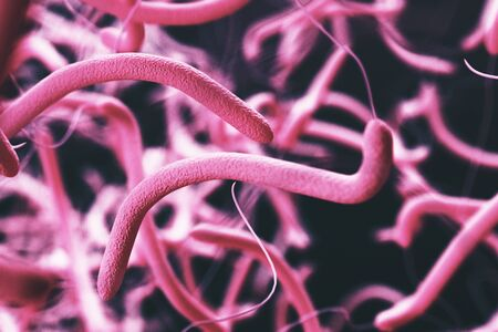 Abstract pink bacteria backdrop. Microscopic research, medicine concept. 3D Rendering