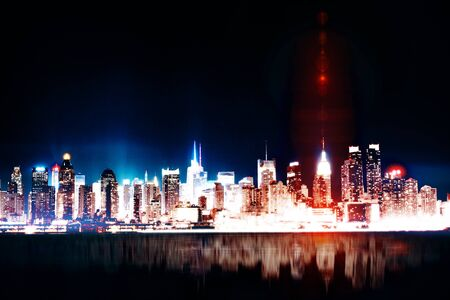 Abstract glowing illuminated night city background with reflections. Urban concept