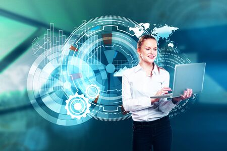Portrait of attractive young european woman using laptop with digital business projection. HUD and media concept. 3D Rendering