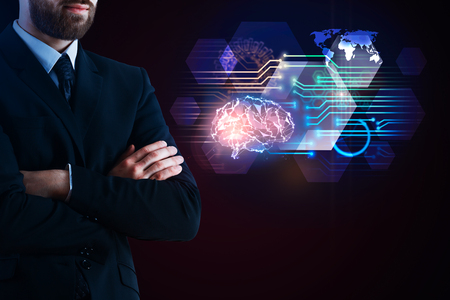 Businessman with folded arms standing next to abstract digital brain interface on black background. Artificial intelligence and innovation concept. 3D Rendering  Stock Photo