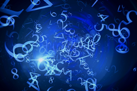 Abstract digital glowing blue numbers background. Technology and computing concept. 3D Rendering